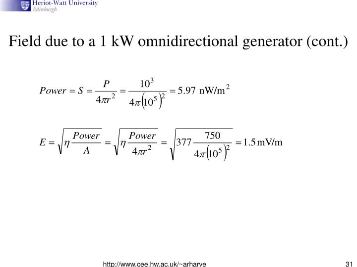 Field due to a 1 kW omnidirectional generator (cont.)