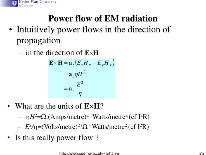 Power flow of EM radiation