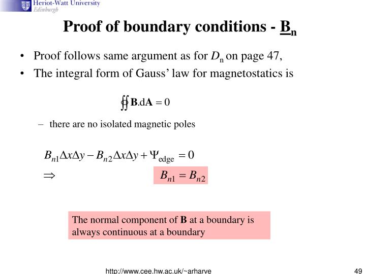 Proof of boundary conditions -