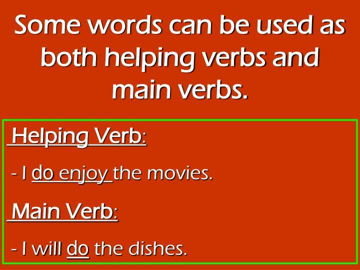 Homework help verbs main and helping