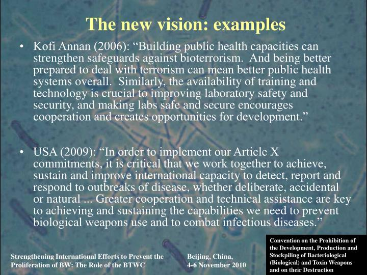 The new vision: examples