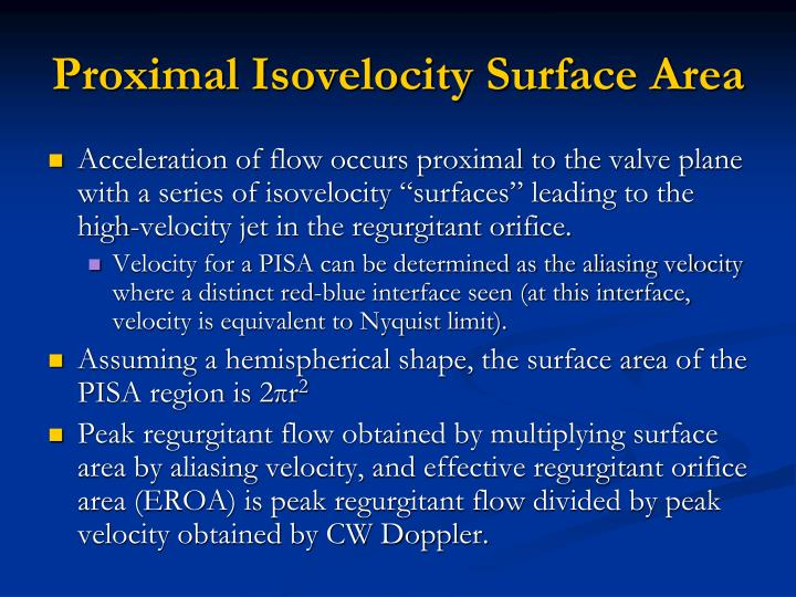 Proximal Isovelocity Surface Area