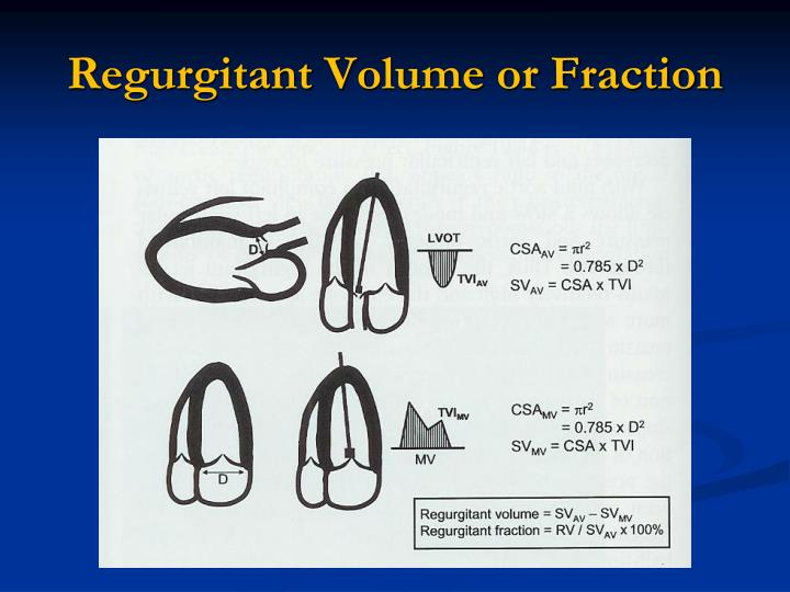 Regurgitant Volume or Fraction