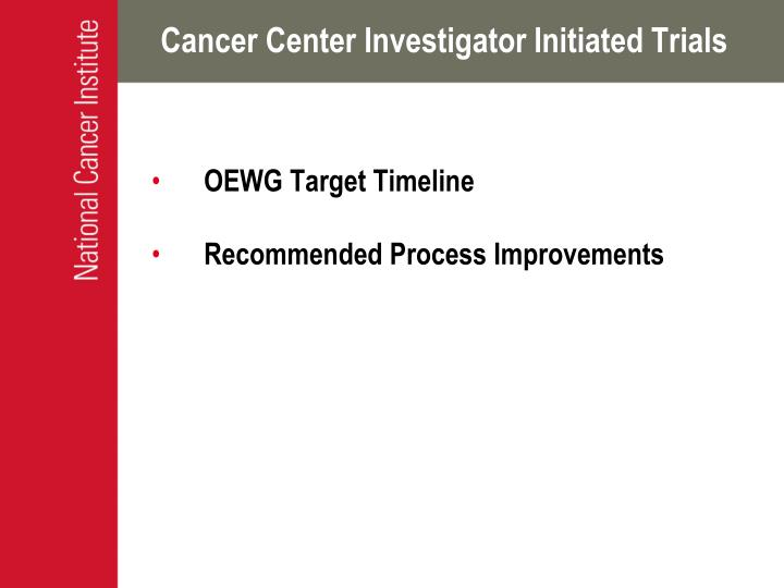 Cancer Center Investigator Initiated Trials