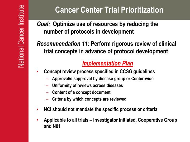 Cancer Center Trial Prioritization