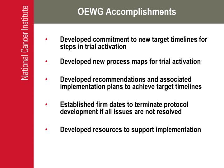 OEWG Accomplishments