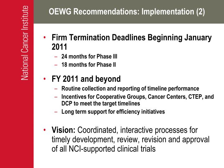 OEWG Recommendations: Implementation (2)
