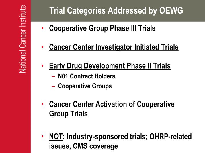 Trial Categories Addressed by OEWG