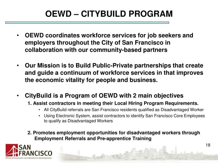 OEWD – CITYBUILD PROGRAM