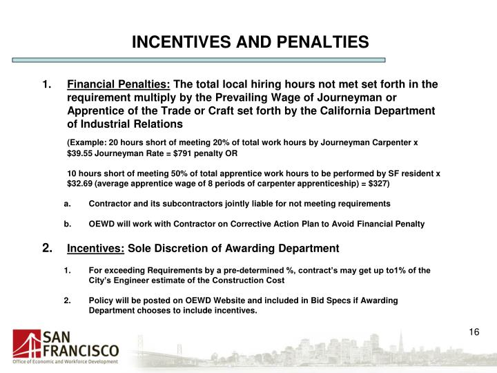 INCENTIVES AND PENALTIES