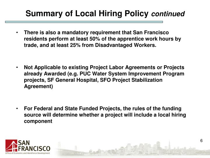 Summary of Local Hiring Policy