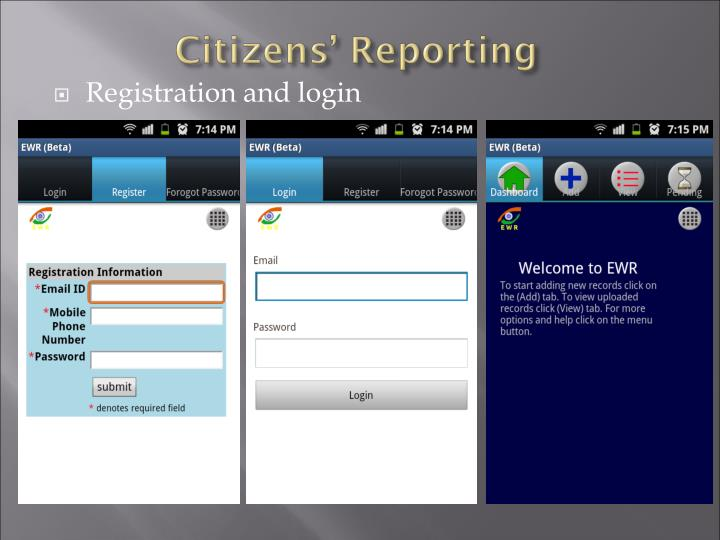 Registration and login