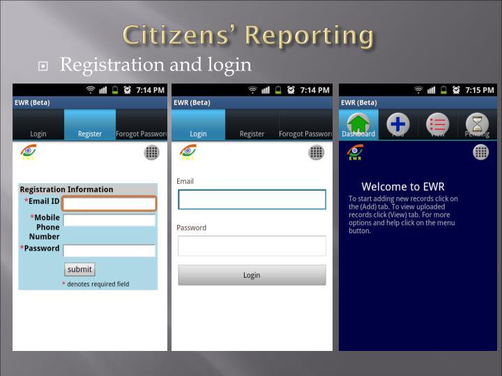 Registration and login