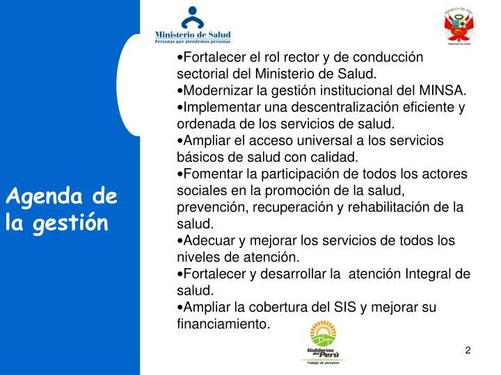 Fortalecer el rol rector y de conduccin sectorial del Ministerio de Salud.