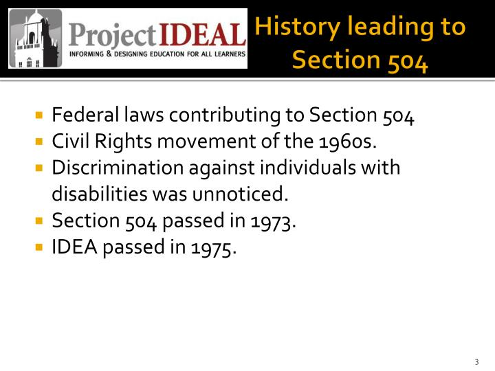 History leading to Section 504