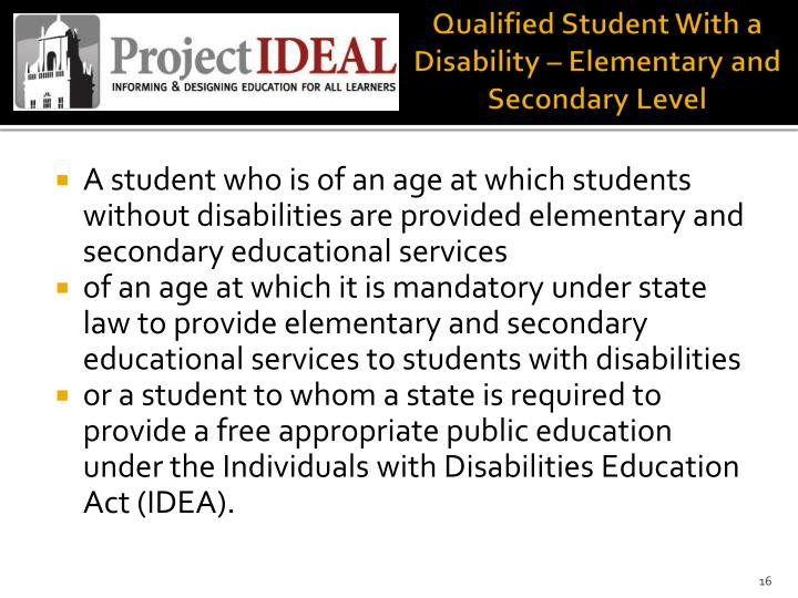 Qualified Student With a Disability – Elementary and Secondary Level