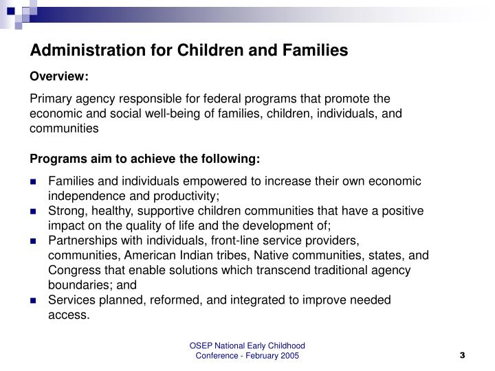 Administration for children and families