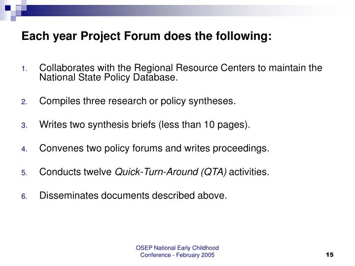 Each year Project Forum does the following: