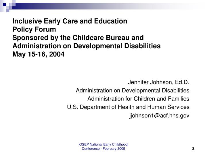 Inclusive Early Care and Education