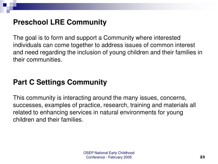 Preschool LRE Community