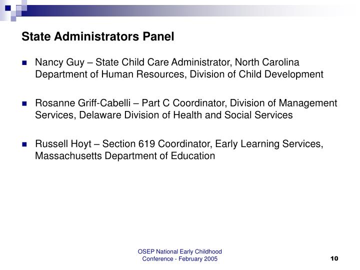 State Administrators Panel