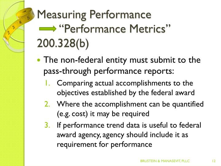"Measuring Performance""Performance Metrics""  200.328(b)"