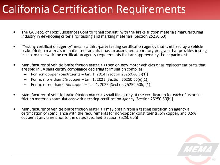 California Certification Requirements