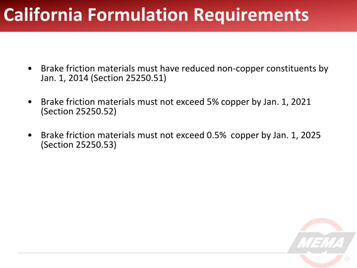 California formulation requirements