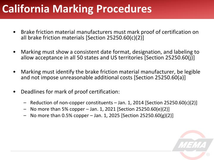 California Marking Procedures