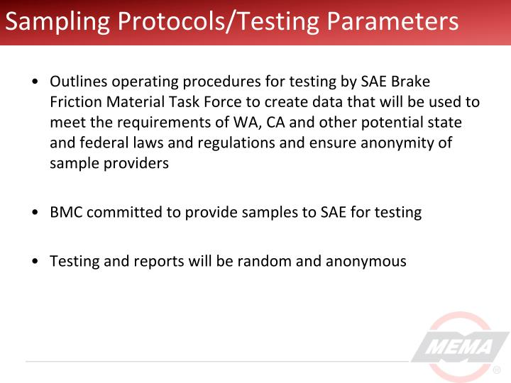 Sampling Protocols/Testing Parameters