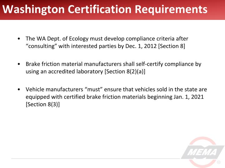 Washington Certification Requirements