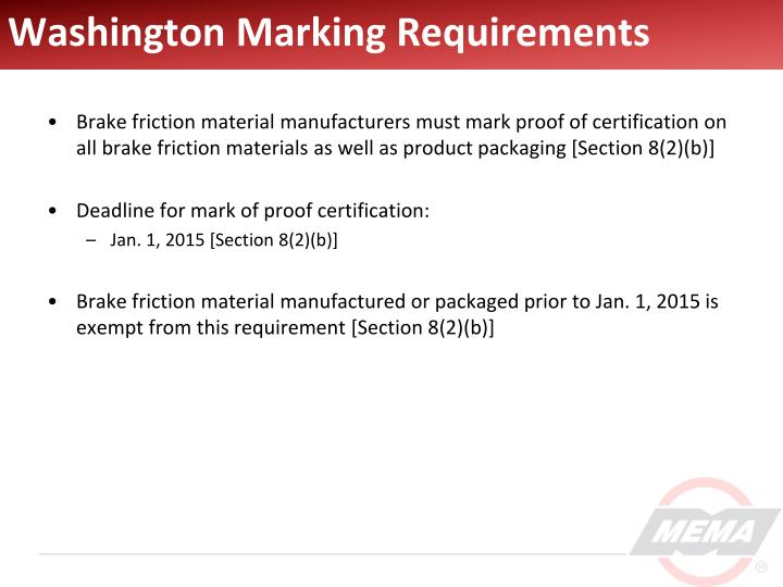 Washington Marking Requirements
