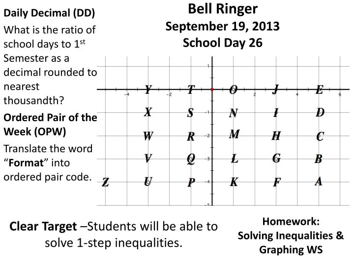Bell ringer september 19 2013 school day 26