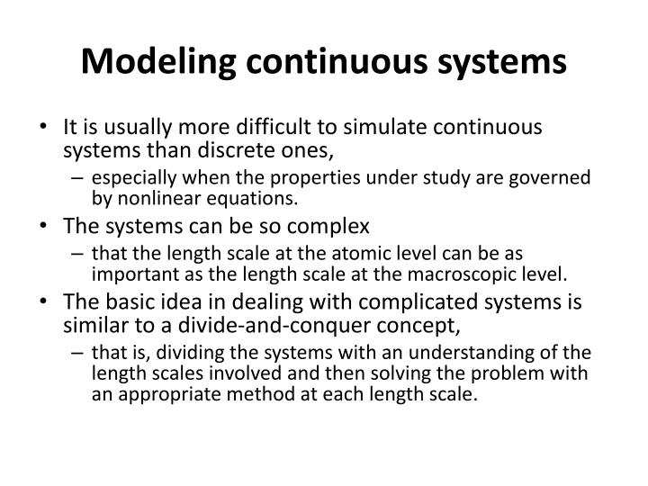 Modeling continuous systems