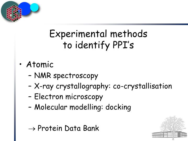 Experimental methods to identify ppi s