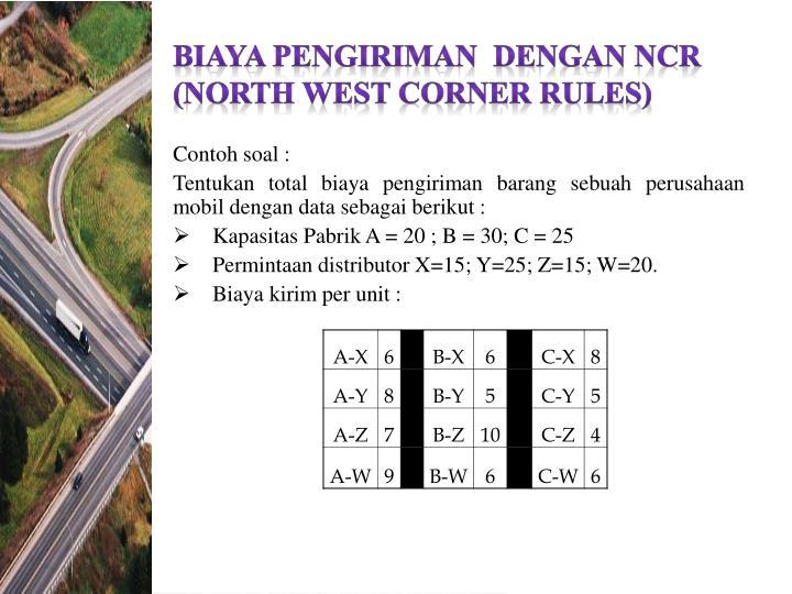 BIAYA PENGIRIMAN  DENGAN NCR (NORTH WEST CORNER RULES)