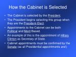 how the cabinet is selected