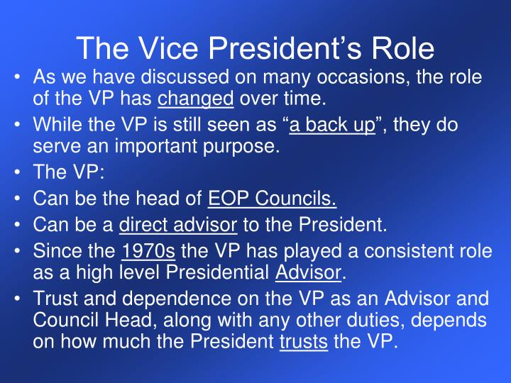 The Vice President's Role
