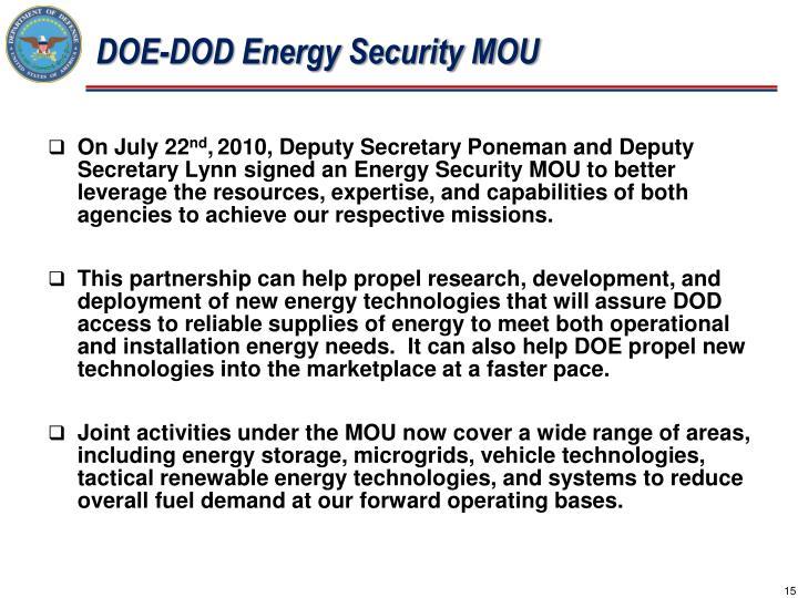 DOE-DOD Energy Security MOU