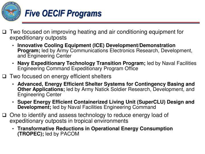 Five OECIF Programs