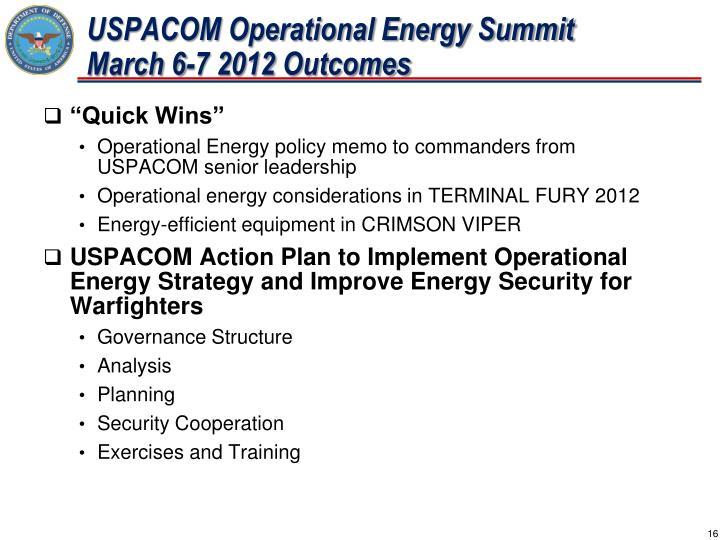 USPACOM Operational Energy Summit