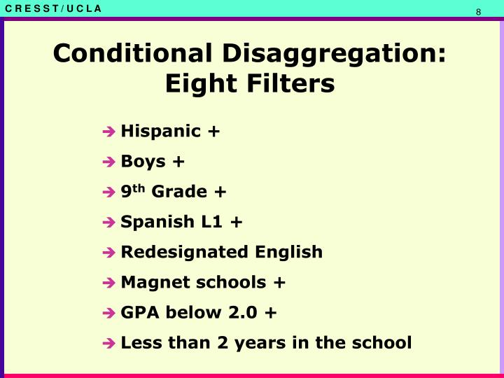 Conditional Disaggregation: Eight Filters