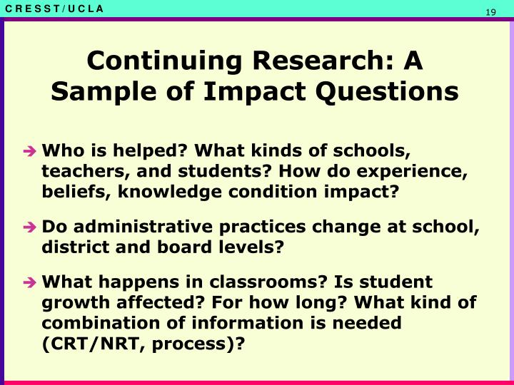 Continuing Research: A Sample of Impact Questions