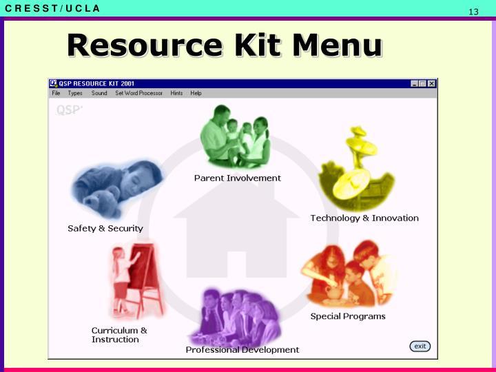 Resource Kit Menu