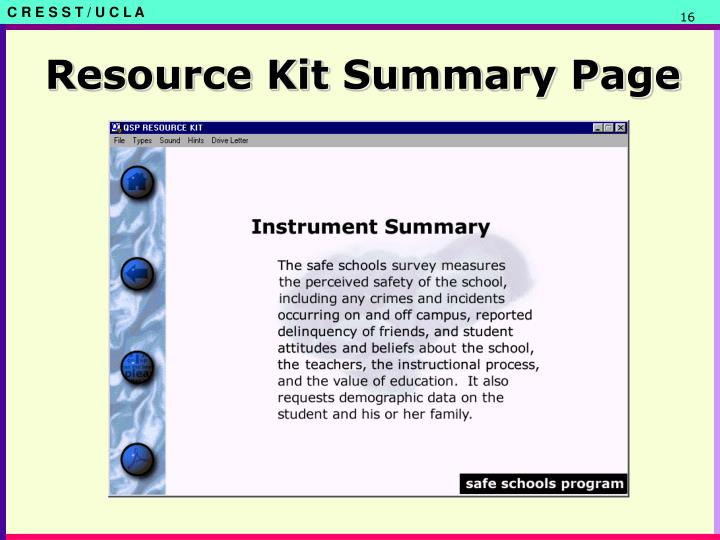 Resource Kit Summary Page