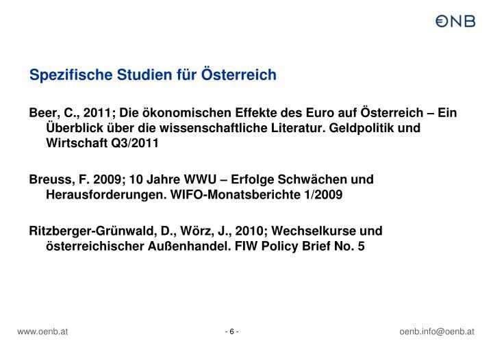 Spezifische Studien für Österreich