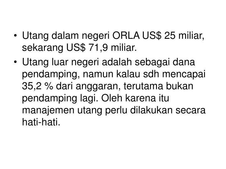 Utang dalam negeri ORLA US$ 25 miliar, sekarang US$ 71,9 miliar.