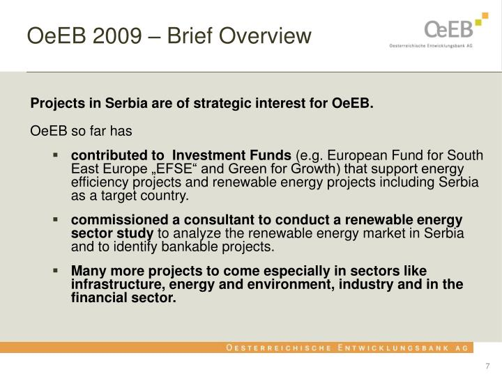 OeEB 2009 – Brief Overview