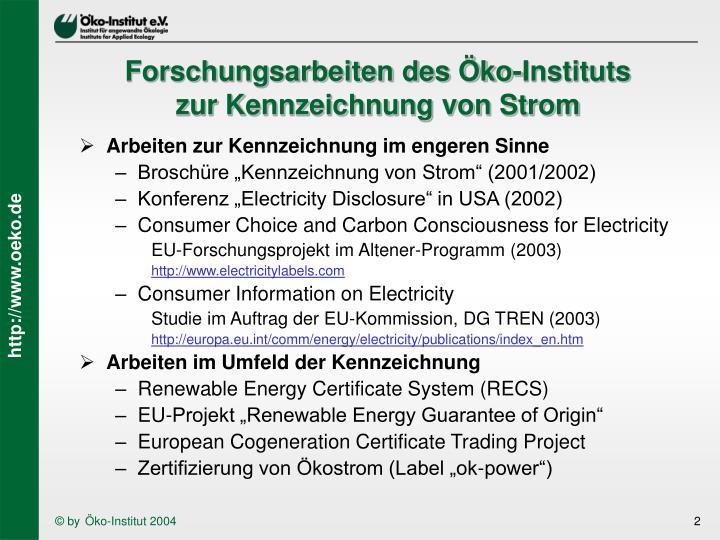 Forschungsarbeiten des Öko-Instituts