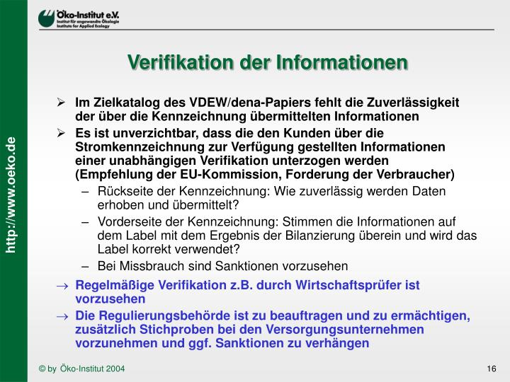 Verifikation der Informationen